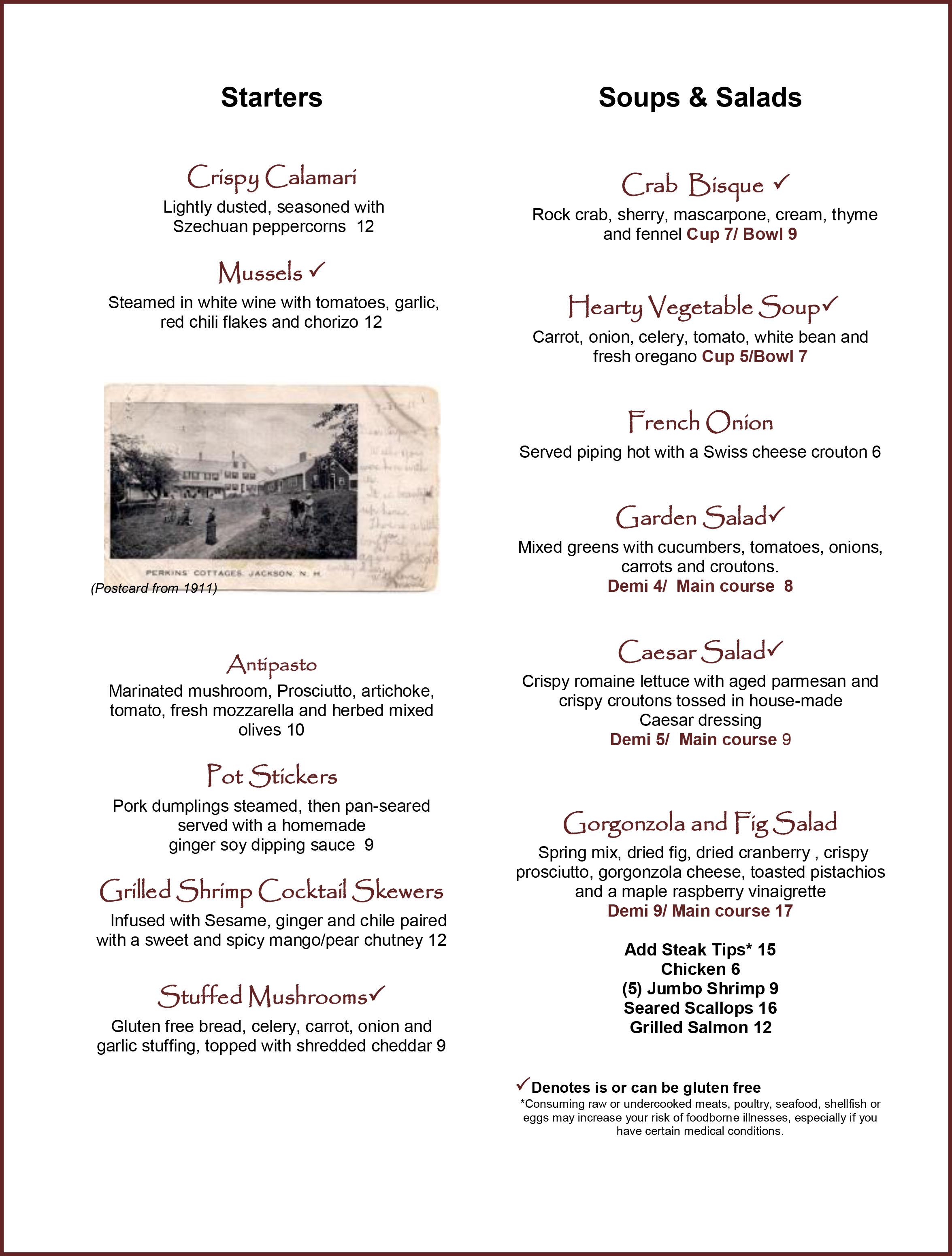 Christmas Farm Inn Restaurant menu
