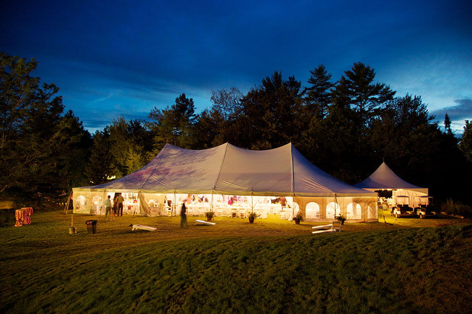 Our outdoor wedding venues nh include tent weddings which are beautiful at night.