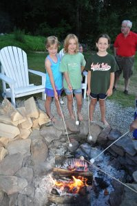 Family Friendly Story Land Hotel in Jackson NH has firepit for the kids to make smores.