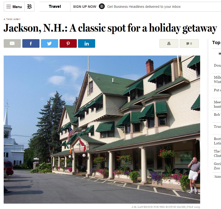 Boston Globe: Jackson, NH Hotels: A classic spot for a holiday getaway