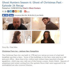 Ghost Hunters at Christmas Farm Inn