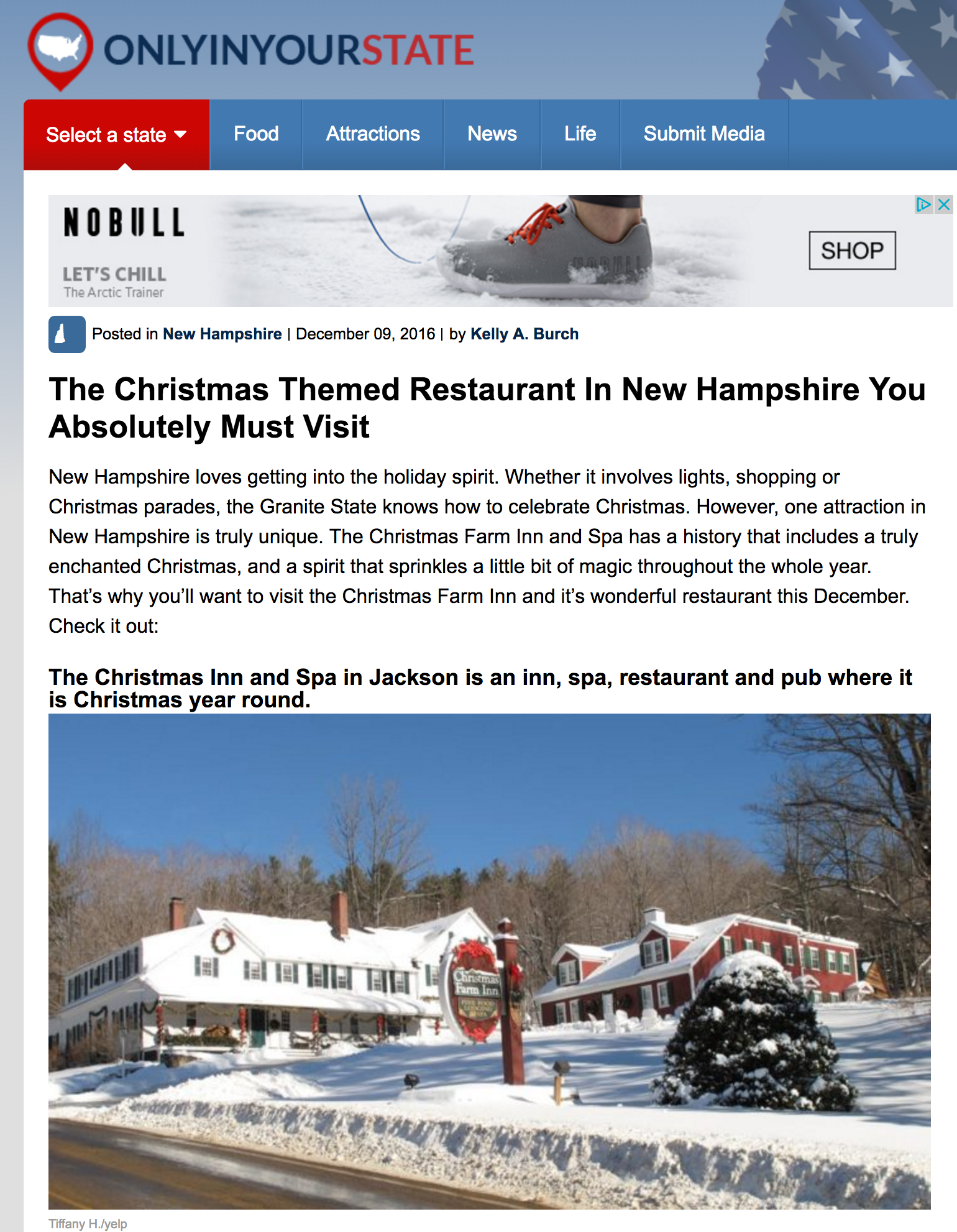 Christmas Themed Restaurant in New Hampshire