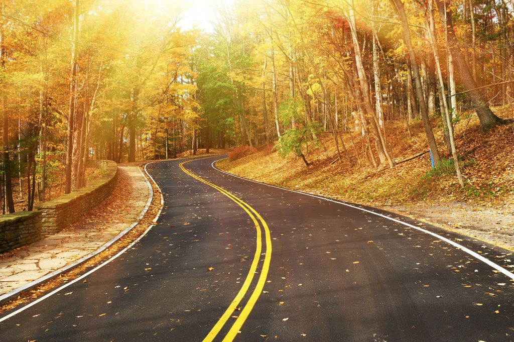 Enjoy New England Fall with a scenic drive through the White Mountains.